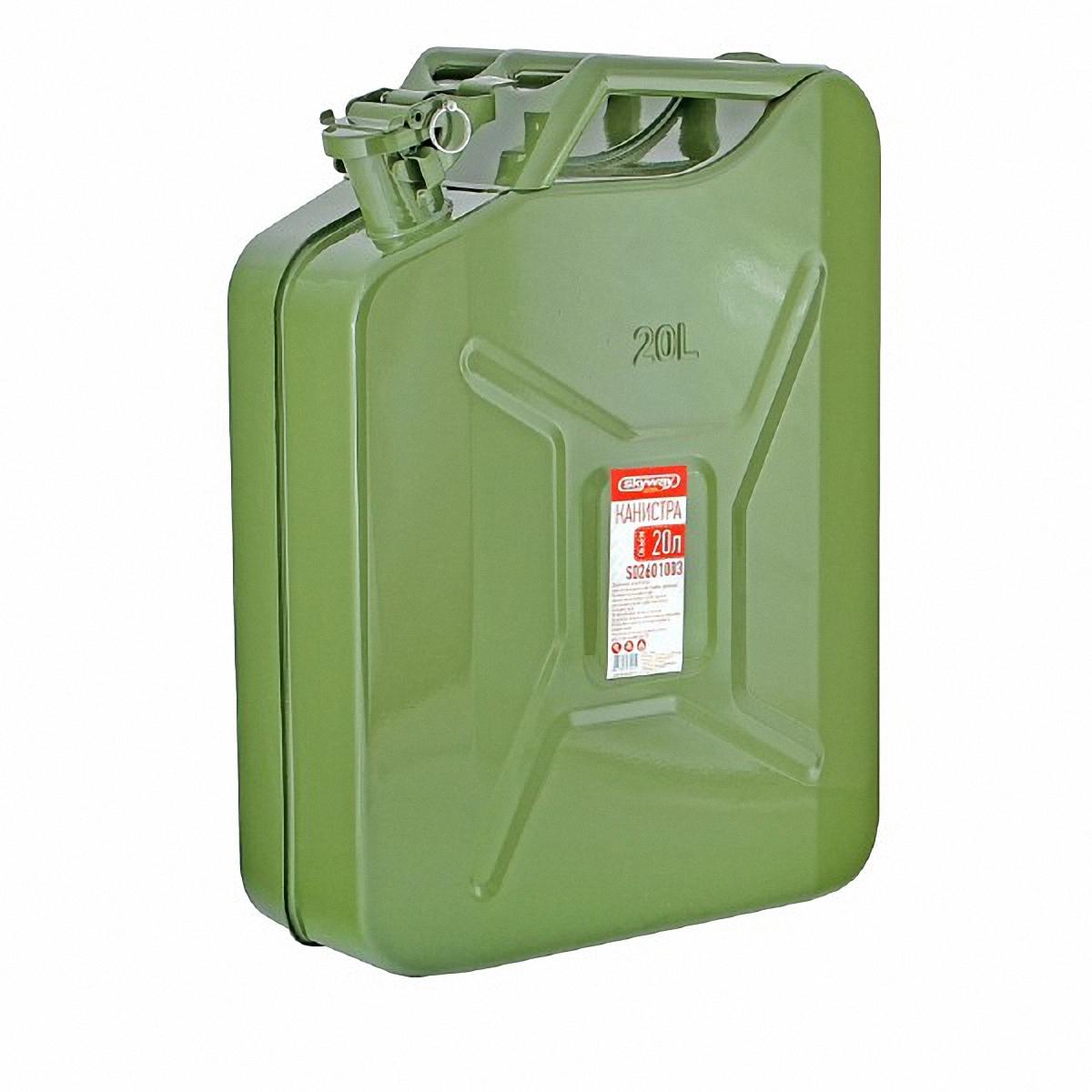 Канистра Skyway, 20 л. S02601003S02601003Металлическая канистра Skyway предназначена для хранения жидкостей, в том числе топлива и топливных смесей. Изготовлена из стали холодного проката, что обеспечивает повышенную прочность. Внешняя поверхность оцинкована и окрашена. Внутреннее фосфатированное антикорозийное покрытие препятствует образованию ржавчины. Ребра жесткости на боковых поверхностях канистры придают ей прочность при механических воздействиях.Устойчивая конструкция канистры предотвращает ее перемещение в багажнике при интенсивном движении, снижая уровень нежелательного шума. Три рукоятки позволяют нести канистру как одному, так и вдвоем. Механизм горловины предохраняет содержимое от протекания, а особые материалы резиновой прокладки придают ей высокую долговечность и устойчивость к механическим повреждениям в процессе эксплуатации. Конструкция рычажного механизма крышки предоствращает появления люфта при активной эксплуатации. Специализированная форма носика исключает проливание жидкости.