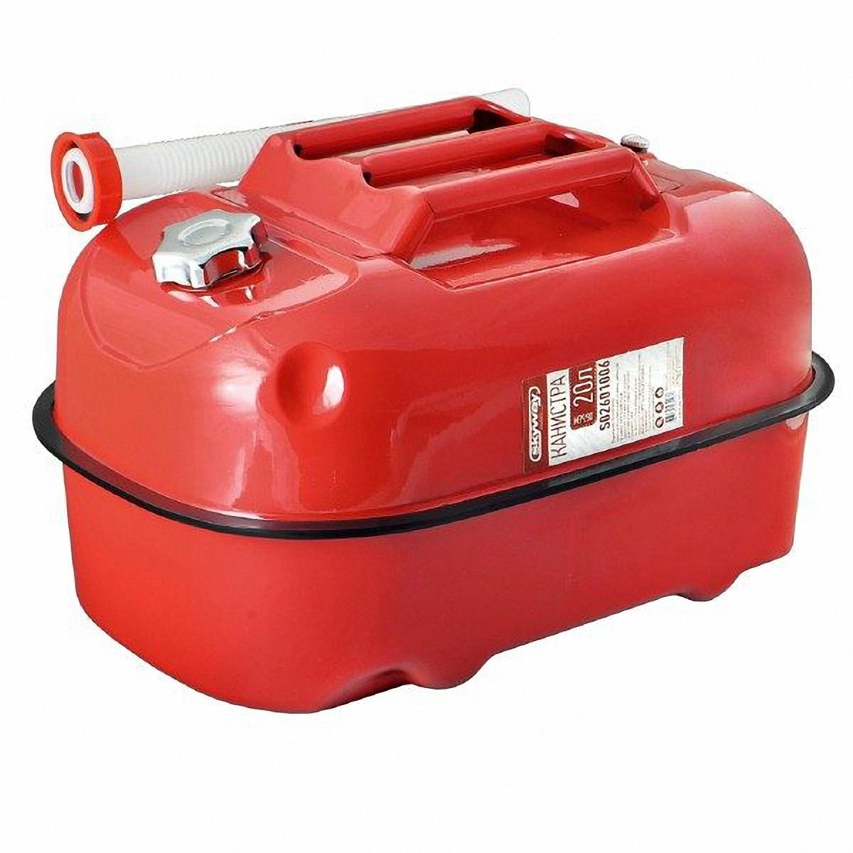 Канистра Skyway, цвет: красный, 20 лS02601006Металлическая канистра предназначена для хранения жидкостей, в том числе топлива и топливных смесей. Изготовлена из стали холодного проката, что обеспечивает повышенную прочность. Внешняя поверхность оцинкована и окрашена. Внутреннее фосфатированное антикоррозийное покрытие препятствует образованию ржавчины. Ребра жесткости на боковых поверхностях канистры придают ей прочность при механических воздействиях. Устойчивая конструкция канистры предотвращает ее перемещение в багажнике при интенсивном движении, снижая уровень нежелательного шума. Механический механизм горловины предохраняет содержимое от протекания, а особые материалы резиновой прокладки придают ей высокую долговечность и устойчивость к механическим повреждениям в процессе эксплуатации.Конструкция рычажного механизма крышки предотвращает появления люфта при активной эксплуатации. Специализированная форма носика исключает проливание жидкости. В комплект входит трубка-лейка, что позволяет наполнить любую неудобно расположенную емкость.
