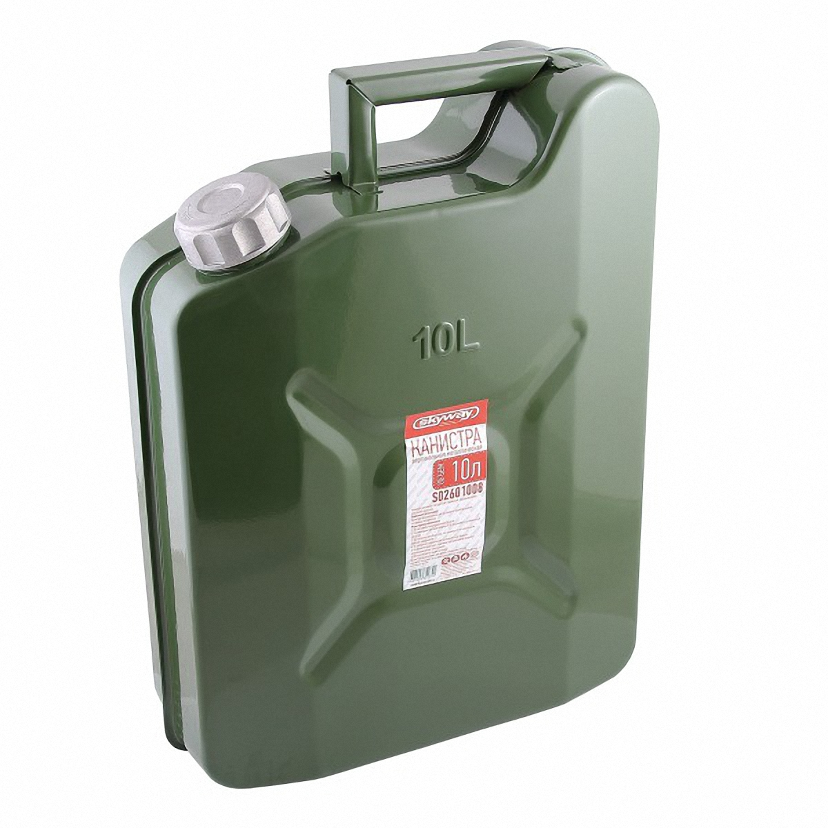 Канистра Skyway, 10лS02601008Металлическая канистра предназначена для хранения жидкостей, в том числе топлива и топливных смесей. Изготовлена из стали холодного проката, что обеспечивает повышенную прочность. Внешняя поверхность оцинкована и окрашена. Внутреннее фосфатированное антикорозийное покрытие препятствует образованию ржавчины. Ребра жесткости на боковых поверхностях канистры придают ей прочность при механических воздействиях.Устойчивая конструкция канистры предотвращает ее перемещение в багажнике при интенсивном движении, снижая уровень нежелательного шума. Форма профиля резьбы предохраняет содержимое от протекания. Специализированная форма носика исключает проливание жидкости. В комплет канистры входит трубка-лейка, что позволяет наполнить любую неудобно расположенную емкость.