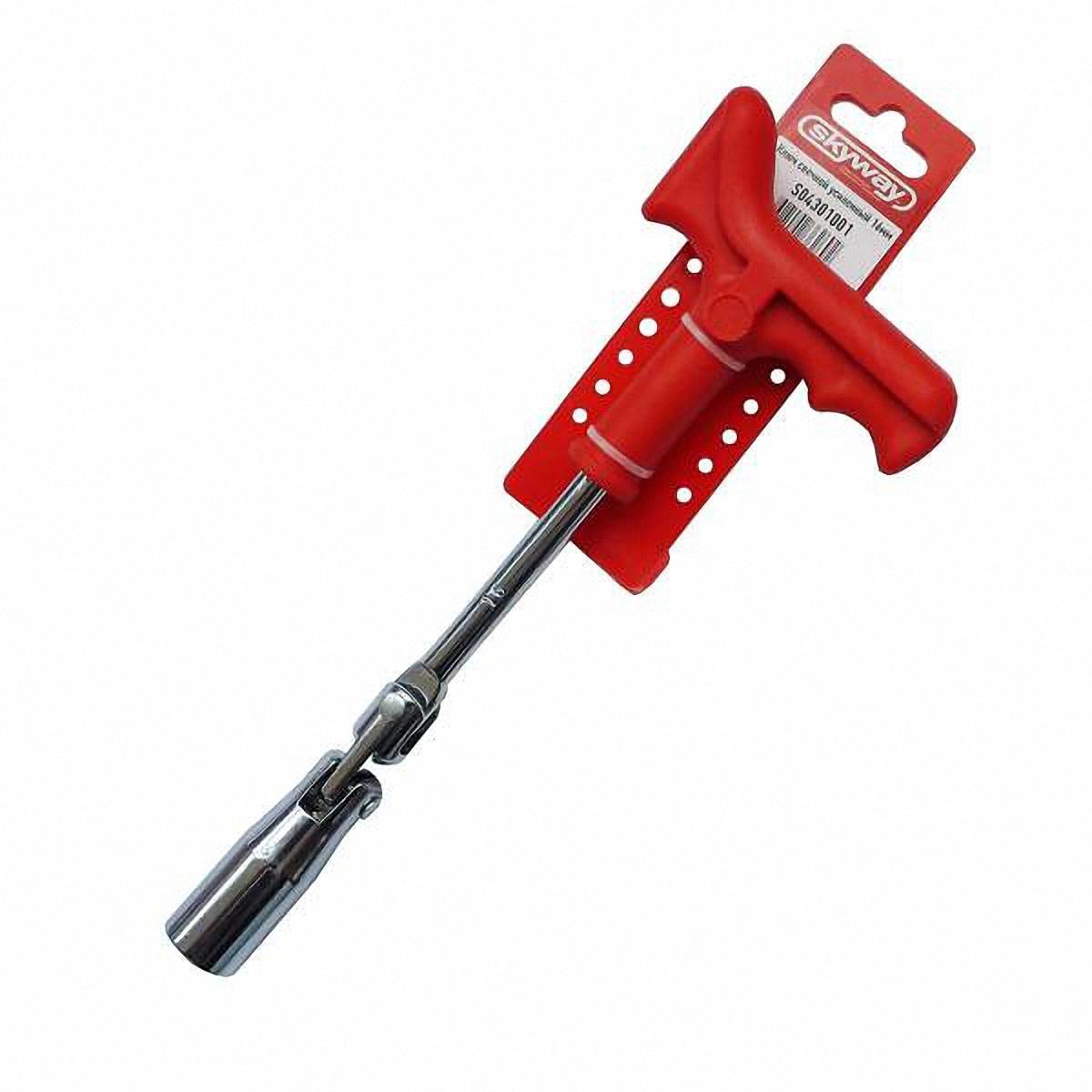 Ключ свечной Skyway, с карданом, усиленный, 16 ммS04301001Ключ свечной Skyway с карданом, усиленный, предназначендля снятия и установки свечей зажигания двигателейвнутреннего сгорания. Особенности:- Хромированная поверхность препятствует появлениюржавчины. - Оснащен Т-образной пластиковой рукояткой с удобнымзахватом.- Оснащен шарнирным механизмом, обеспечивающимвращение зева относительнорукоятки под переменным углом благодаря подвижномусоединению звеньев. Диаметр шестигранной головки: 16 мм.Общая длина ключа: 260 мм.Размах Т-образной ручки: 95 мм.Длина T-образной ручки: 165 мм. Уважаемые клиенты! Обращаем ваше внимание на ассортимент товара. Поставкаосуществляется в зависимости от наличия на складе.