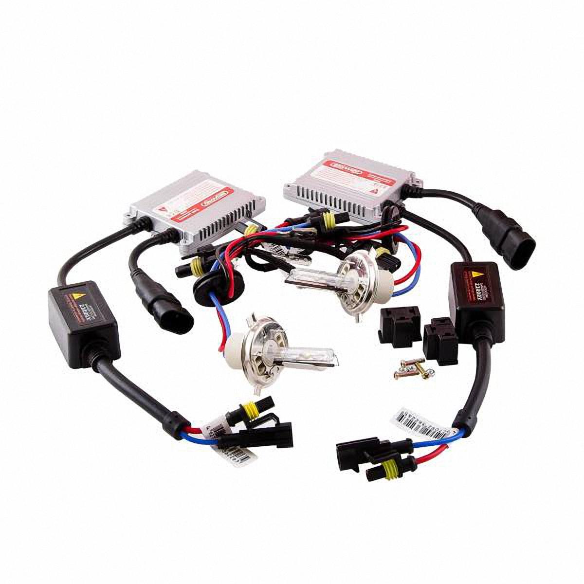 Лампа автомобильная Skyway, ксенон, цоколь H4, 35 Вт, 12 В, 2 шт. SH4 6000KSH4 6000K D13 12V35WЛампы автомобильные Skyway - комплект ксеноновых ламп без блока розжига. Автолампы с цоколем Н4 предназначены для ближнего и дальнего света.Автолампа ксенонSKYWAY устойчива к тряскам, имеет продолжительный срок эксплуатации. За счет лучшего освещениядорожной разметки и дорожных знаков, вы будете чувствовать себя уверенно в плохих погодных условиях и в темное время суток. А мягкий бело-голубой свет лампы не ослепляет водителей встречного потока автомобилей. Особенности: Колба изготовлена из кварцевого стекла Водонепроницаемый корпус Короткое время розжига Срок службы более 3000 часов Излучают на 300 % больше света, чем галогеновые лампы Увеличенная яркость свеченияХарактеристики: Цветовая температура: 6000 К Яркость: 3200 Лм Тип цоколя: Н4 Диапазон входного напряжения: 9-32 В Потребляемая мощность: 35 Вт Комплектация: Лампа газоразрядная ксеноновая - 2 шт. Блок розжига – 2 шт.Винты для блока розжига – 6 шт.Гарантийный талон – 1 шт.Инструкция - 1 шт.