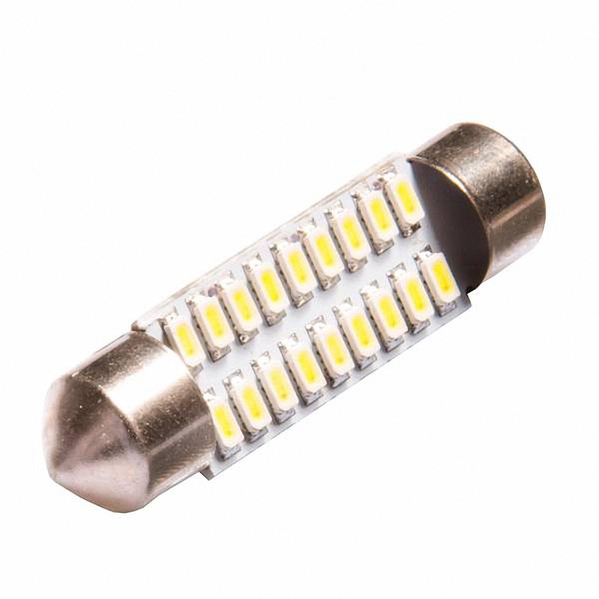 Автолампа диодная Skyway, T11 (C5W). SJ-18SMD-3014-39MMSJ-18SMD-3014-39MMАвтолампа диодная Skyway - это наиболее практичный выбор для автомобиля. Диодные лампы служат в 100 раз дольше обычных ламп, при этом не бояться перепадов температур (-60 до +60 °C), устойчивы к ударам и вибрациям. Лампы обладают одной особенностью: когда перегорает один светодиод, остальные продолжают свою работу. По своим размерам они достаточно компактны и имеют разные цветовые вариации, а благодаря низкому потреблению энергии, светодиодные лампы снижают нагрузку на генератор и аккумулятор автомобиля.18 SMD диодов. С цоколем. 1-контактная. Цвет: белый.