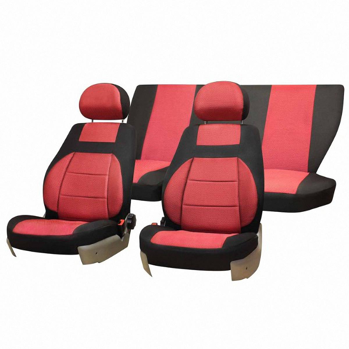 Чехлы автомобильные Skyway, для Lada Granta, цвет: красный, черныйV004-D3Автомобильные чехлы Skyway изготовлены из качественного жаккарда. Чехлы идеально повторяют штатную форму сидений и выглядят как оригинальная обивка сидений. Разработаны индивидуально для каждой модели автомобиля. Авточехлы Skyway просты в уходе - загрязнения легко удаляются влажной тканью. Чехлы имеют раздельную схему надевания. Заднее сиденье - сплошное.В комплекте 11 предметов.