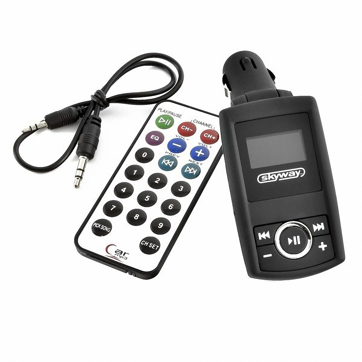 Skyway Модулятор . ST118/S01601002ST118/S01601002Комплектация:Автомобильный FM-модулятор.Пульт дистанционного управления.Аудио-кабель для линейного входа. Диапазон FM-частот: 87,5 МГц (В общем, 206 радиочастот).Разделение каналов: 40 децибел.Частотная характеристика: 35Гц - 20 КГц.Эквалайзер. Воспроизводит файлы в формате MP3/WMA с USB-носителей и карт памяти. LCD-дисплей. Питание от сети 12-24 В.