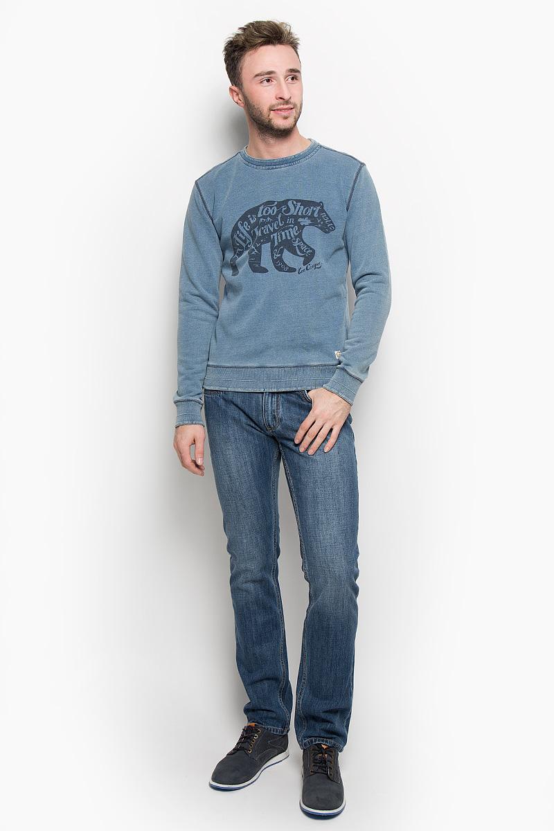 Толстовка мужская Lee Cooper, цвет: серо-синий. LCHMJ096. Размер M (48)LCHMJ096/LTDENIMУтепленная мужская толстовка Lee Cooper, изготовленная из натурального хлопка, необычайно мягкая и приятная на ощупь, не сковывает движения. Модель с круглым вырезом горловины и длинными рукавами. Вырез горловины, низ рукавов и низ модели дополнены трикотажными резинками. Толстовка оформлена изображением оригинального медведя и принтовыми надписями. Эта модная и в то же время комфортная толстовка отличный вариант как для активного отдыха, так и для занятий спортом!