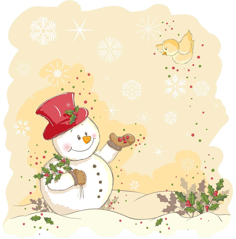 Салфетки бумажные Gratias Снеговик с птичкой, трехслойные, 33 х 33 см, 20 шт90472Трехслойные бумажные салфетки Gratias Снеговик с птичкой,выполненные из натуральной целлюлозы, станутотличным дополнением любого праздничного стола. Ониотличаются необычной мягкостью и прочностью.Размер листа: 33 х 33 см.Количество слоев: 3.