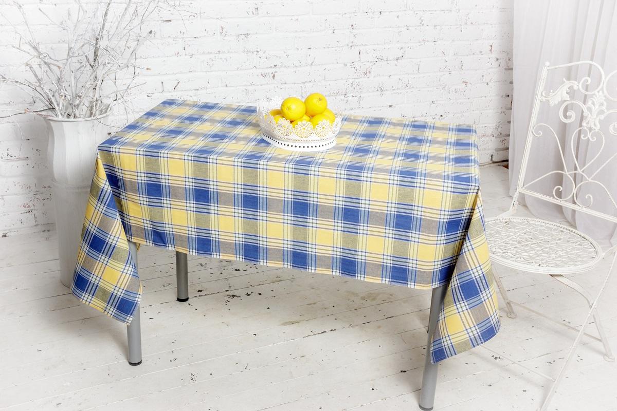 """Клетчатая скатерть """"Гаврилов-Ямский Лен"""", выполненная из натурального хлопка в итальянском стиле - стильное и бюджетное решение на обеденный стол. Такая скатерть украсит любой интерьер. Размер: 150 х 180 см."""
