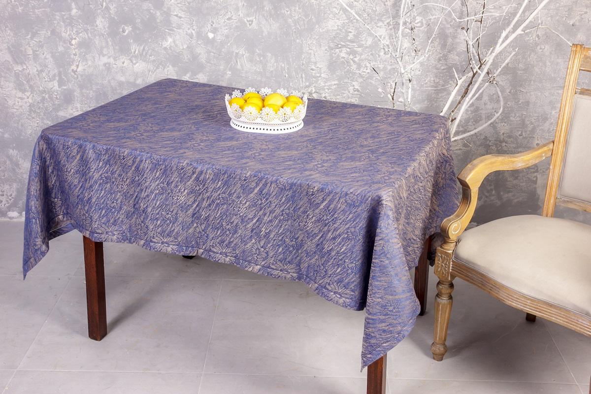 Скатерть Гаврилов-Ямский Лен, прямоугольная, цвет: синий, бежевый, 140 x 180 см. 6со6363 скатерть гаврилов ямский лен прямоугольная цвет бирюзовый 140 х 180 см