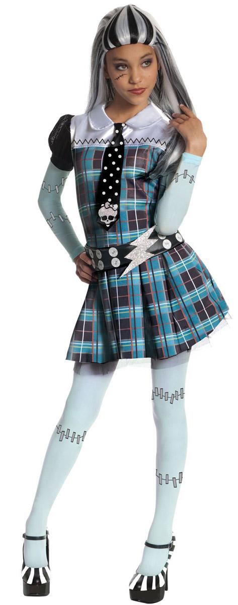 Карнавальный костюм для девочки Rubies Френки Штейн, цвет: черный, синий, светло-зеленый. Н89157. Размер 104, 3-4 года