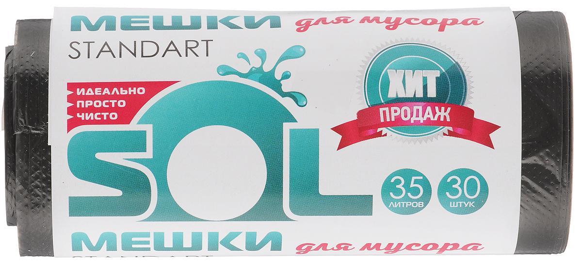Мешки для мусора Sol, 35 л, 30 шт10018_новый дизайнМешки для мусора Sol, выполненные из полиэтилена, обеспечивают чистоту и гигиену в квартире. Они удобны для сбора и удаления мусора, занимают мало места, практичны в использовании. Широко применяются в быту и на производстве.Комплектация: 30 шт.Объем мешков: 35 л.