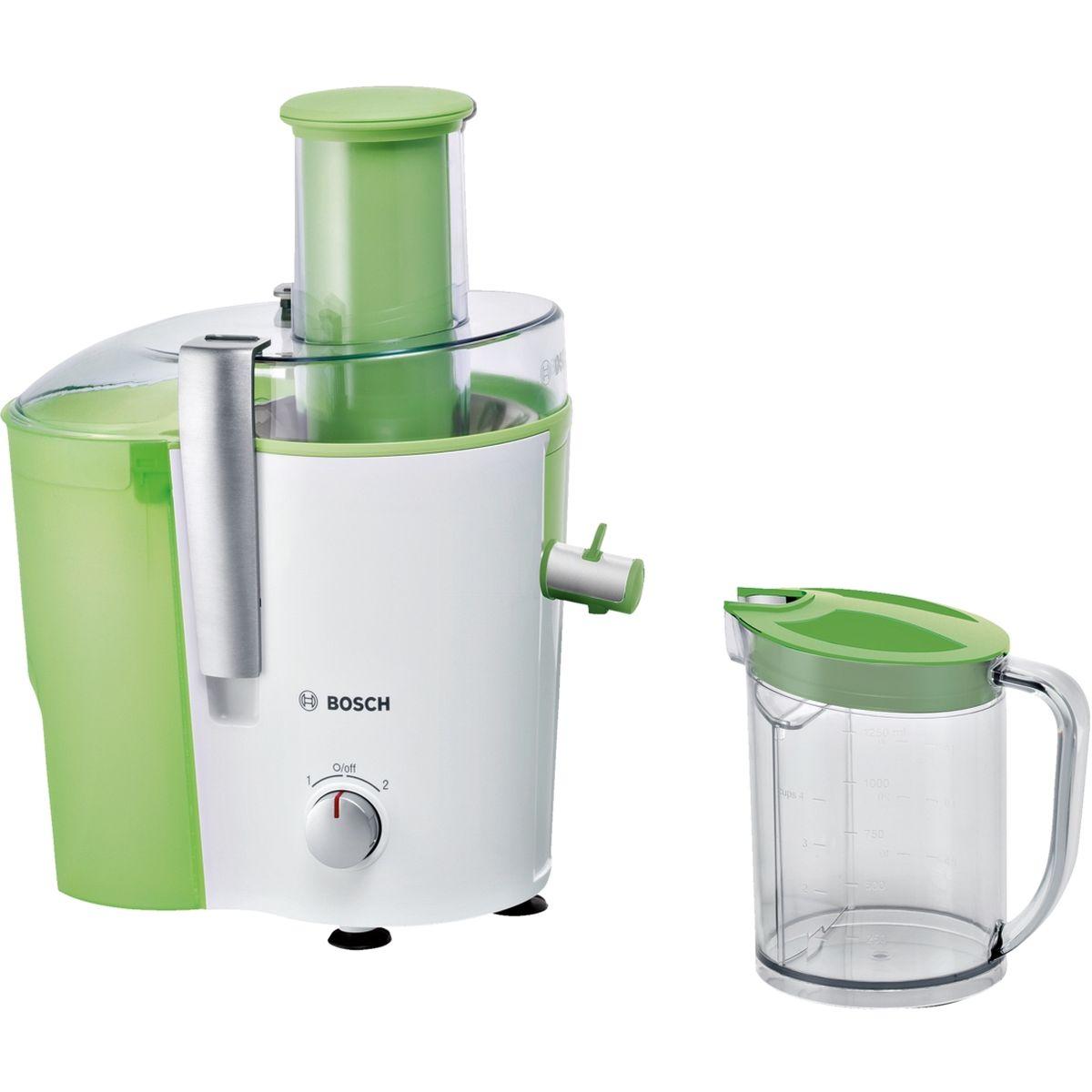 Bosch MES25G0, White Green соковыжималкаMES25G0Cоковыжималка Bosch MES25G0/ - Очень большое отверстие для подачи фруктов (целое яблоко) и овощей - без предварительного нарезания на части - Носик для слива сока, остащенной системой DripStop, предотвращает вытекание сока после отжима и поддерживает рабочую поверхность в идеальной чистоте - Практичное использование благодаря двум режимам скорости для твердых и мягких фруктов - Микроситечко из нержавеющей стали для оптимального отжима сока - Невероятно надежный: мотор начинает функционировать только в том случае, если все детали прибора смонтированы правильно, а крышка прибора закрыта