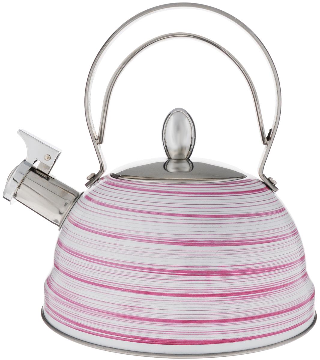 Чайник Mayer & Boch, со свистком, цвет: белый, розовый, стальной, 2,8 л. 2142021420_розовыйЧайник Mayer & Boch выполнен из высококачественной нержавеющей стали, что делает его весьма гигиеничным и устойчивым к износу при длительном использовании. Капсулированное дно с прослойкой из алюминия обеспечивает наилучшее распределение тепла. Носик чайника оснащен насадкой-свистком, звуковой сигнал которого подскажет, когда закипит вода. Фиксированная ручка из нержавеющей стали, делает использование чайника очень удобным и безопасным. Поверхность чайника гладкая, что облегчает уход за ним. Эстетичный и функциональный, с эксклюзивным дизайном, чайник будет оригинально смотреться в любом интерьере.Подходит для всех типов плит, включая индукционные. Можно мыть в посудомоечной машине. Высота чайника (без учета ручки и крышки): 10,5 см.Высота чайника (с учетом ручки и крышки): 23 см.Диаметр чайника (по верхнему краю): 10 см.