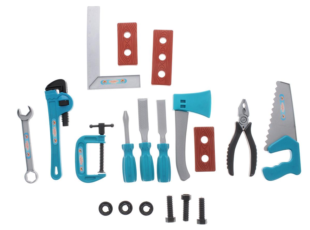 ABtoys Игрушечный набор инструментов цвет бирюзовый серый 19 предметов