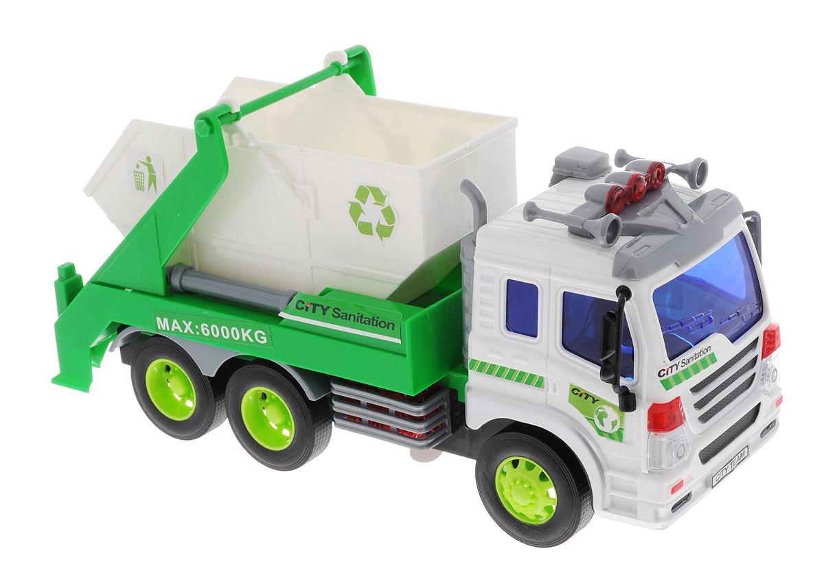Dave Toy Мусоровоз с контейнером инерционный игровой набор dave toy аэропорт с 1 машинкой