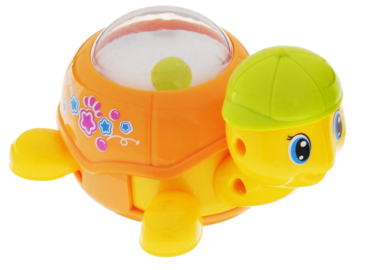 Huile Toys Заводная Машинка-зверюшка Черепашка цвет оранжевый игрушка заводная машинка перевертыш цвет голубой красный