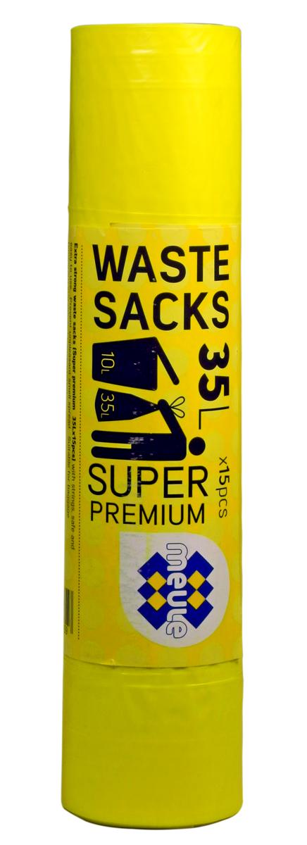 Мешки для мусора Meule Super Premium, с завязками, цвет: желтый, 35 л, 15 шт4607131059Мешки для мусора Meule Super Premium выполнены из полиэтилена. Мешки способны выдерживать большие объемы мусора - они прочные и крепкие. Благодаря ручкам удобны в переноске, а в завязанном виде помогут предотвратить распространение неприятного запаха.Мешки можно использовать для временного хранения вещей.