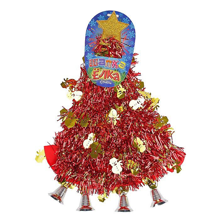 """Карнавальная шляпа Sima-land """"Елочка со снеговиками"""", цвет: красный, золотистый. 305794"""