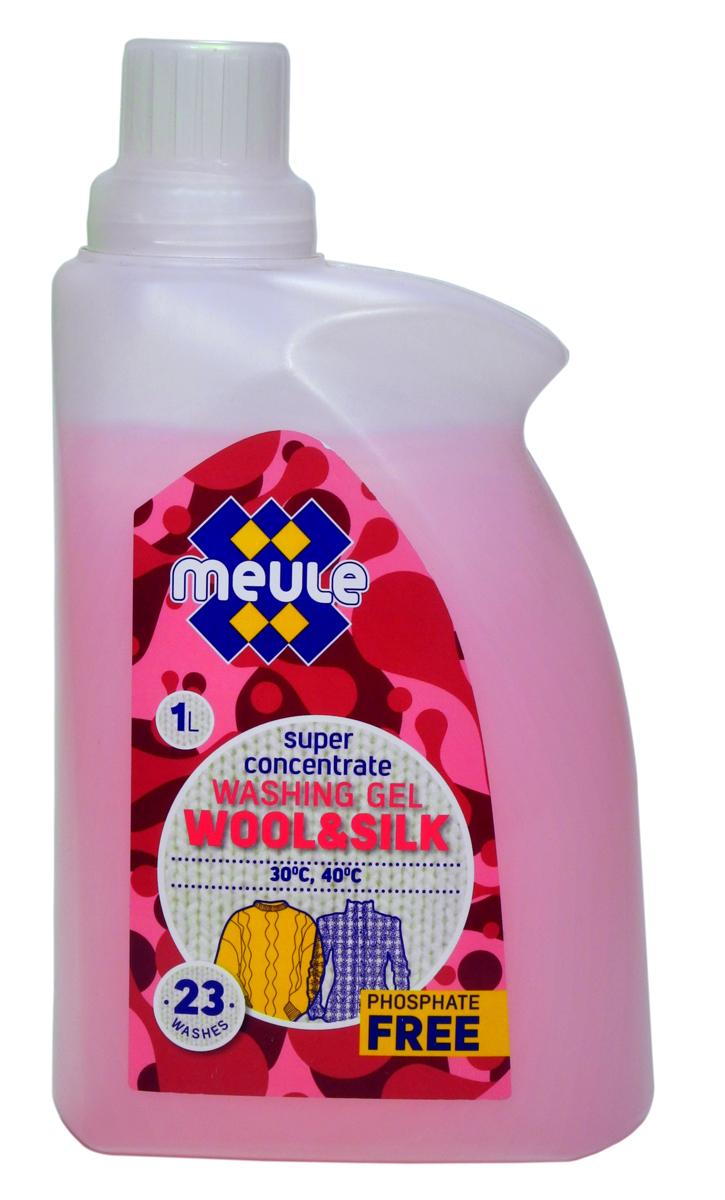 Гель для стирки Meule, концентрат, для шерсти, шелка и деликатных тканей, 1 л7290701372602Meule Gel Wool & Silk - это концентрированный гель для стирки шерсти, шелка и деликатных тканей. Препятствует деформации и усадке изделий, сохраняя их первоначальную форму. Мягко отстирывает, сохраняя нежную структуру чувствительных волокон. Отлично воздействует на загрязнения и пятна, не вызывает аллергических реакций. Препятствует образованию ворсистости (катышков) на одежде. Предотвращает образование накипи. Не повреждает волокна ткани при многократной стирке. Полностью выполаскивается.Рекомендуется использовать при температуре 30 - 40°С. Количество стирок: 23.Уважаемые клиенты! Обращаем ваше внимание на возможные изменения в дизайне упаковки. Качественные характеристики товара остаются неизменными. Поставка осуществляется в зависимости от наличия на складе.