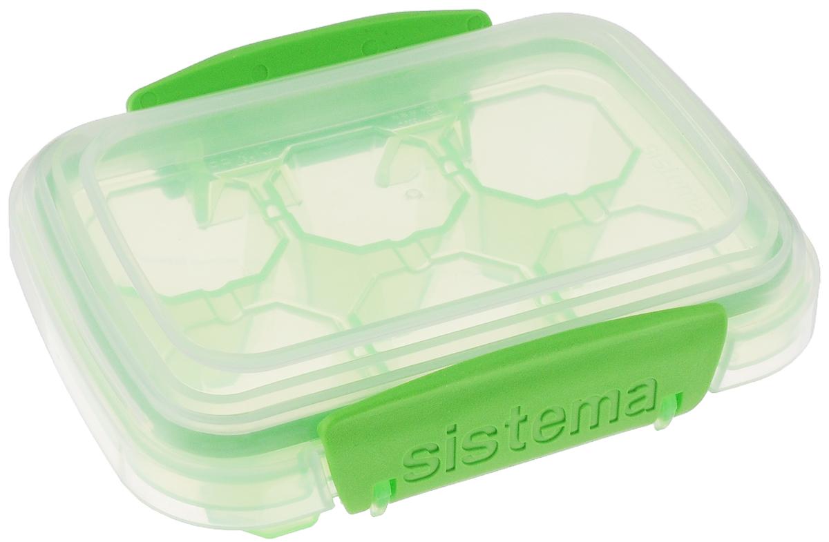 Контейнер для льда Sistema KLIP IT, малый, цвет: салатовый, 6 ячеек61440_салатовыйКонтейнер Sistema KLIP IT предназначен для приготовления 6 кубиков льда. На крышке имеется прорезиненный обод, который способствует более герметичному закрыванию. Контейнер оснащен фиксирующимися зажимами - клипсами, которые при необходимости можно будет заменить. Размер контейнера: 11,5 х 9 х 4 см.