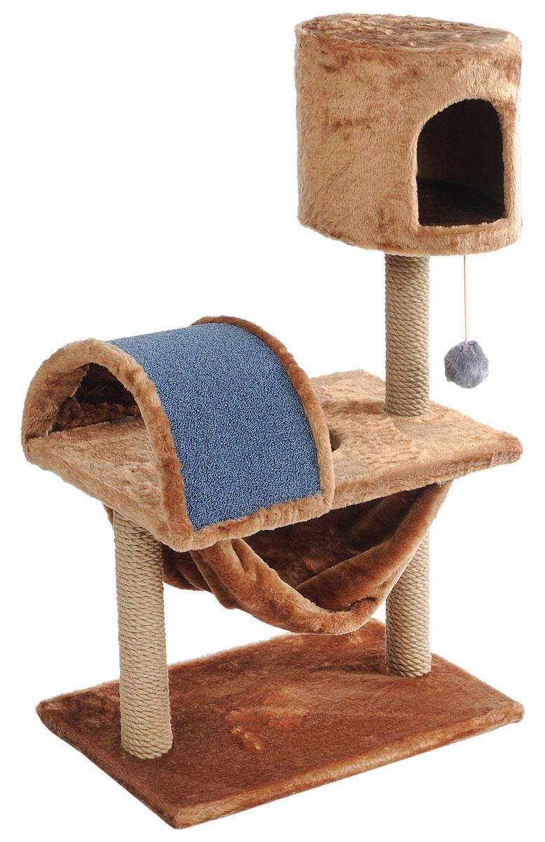 Игровой комплекс для кошек ЗооМарк  Кузя , цвет: светло-коричневый, серый, бежевый, 69 х 37 х 102 см - Когтеточки и игровые комплексы