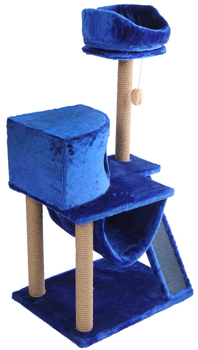 Игровой комплекс для кошек ЗооМарк Мурка, цвет: синий, бежевый, 60 х 45 х 120 см коврик домашний sunstep цвет кремовый 120 х 170 х 4 см