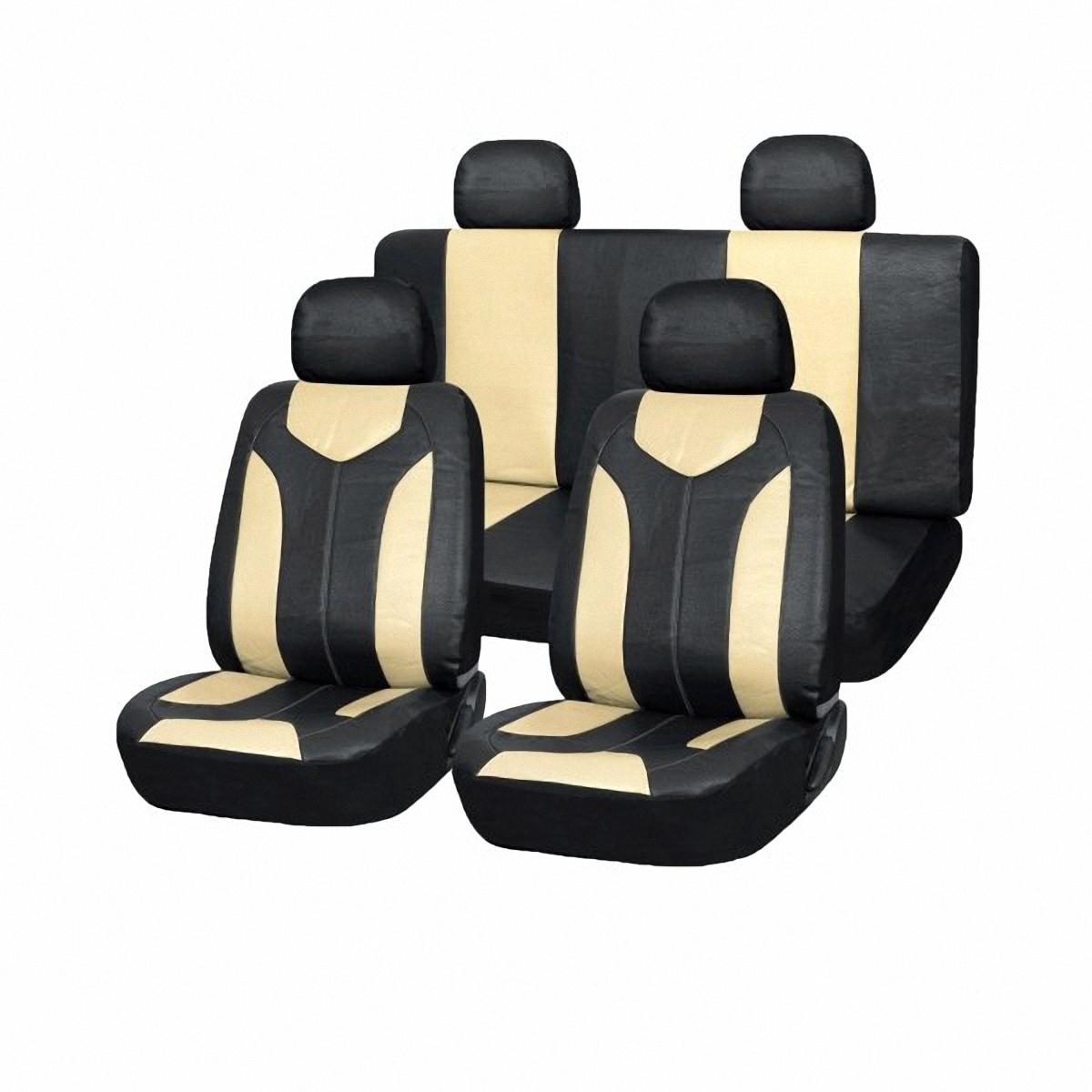 Чехлы автомобильные Skyway. SW-121005 BK/BE S/S01301010SW-121005 BK/BE S/S01301010Вам не хватает уюта и комфорта в салоне? Самый лучший способ изменить это – «одеть» ваши сидения в чехлы SKYWAY. Изготовленные из прочного материала они защитят ваш салон от износа и повреждений. Более плотный поролон позволяет чехлам полностью прилегать к сидению автомобиля и меньше растягиваться в процессе использования. Ткань чехлов на сиденья SKYWAY не вытягивается, не истирается, великолепно сохраняет форму, устойчива к световому и тепловому воздействию, а ровные, крепкие швы не разойдутся даже при сильном натяжении.