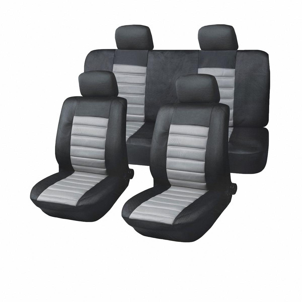 Чехлы автомобильные Skyway. SW-101014 BK/GY/S01301020SW-101014 BK/GY/S01301020Комплект классических универсальных автомобильных чехлов Skyway изготовлен из полиэстера. Чехлы защитят обивку сидений от вытирания и выцветания. Благодаря структуре ткани, обеспечивается улучшенная вентиляция кресел, что позволяет сделать более комфортными долгое пребывание за рулем во время дальней поездки.