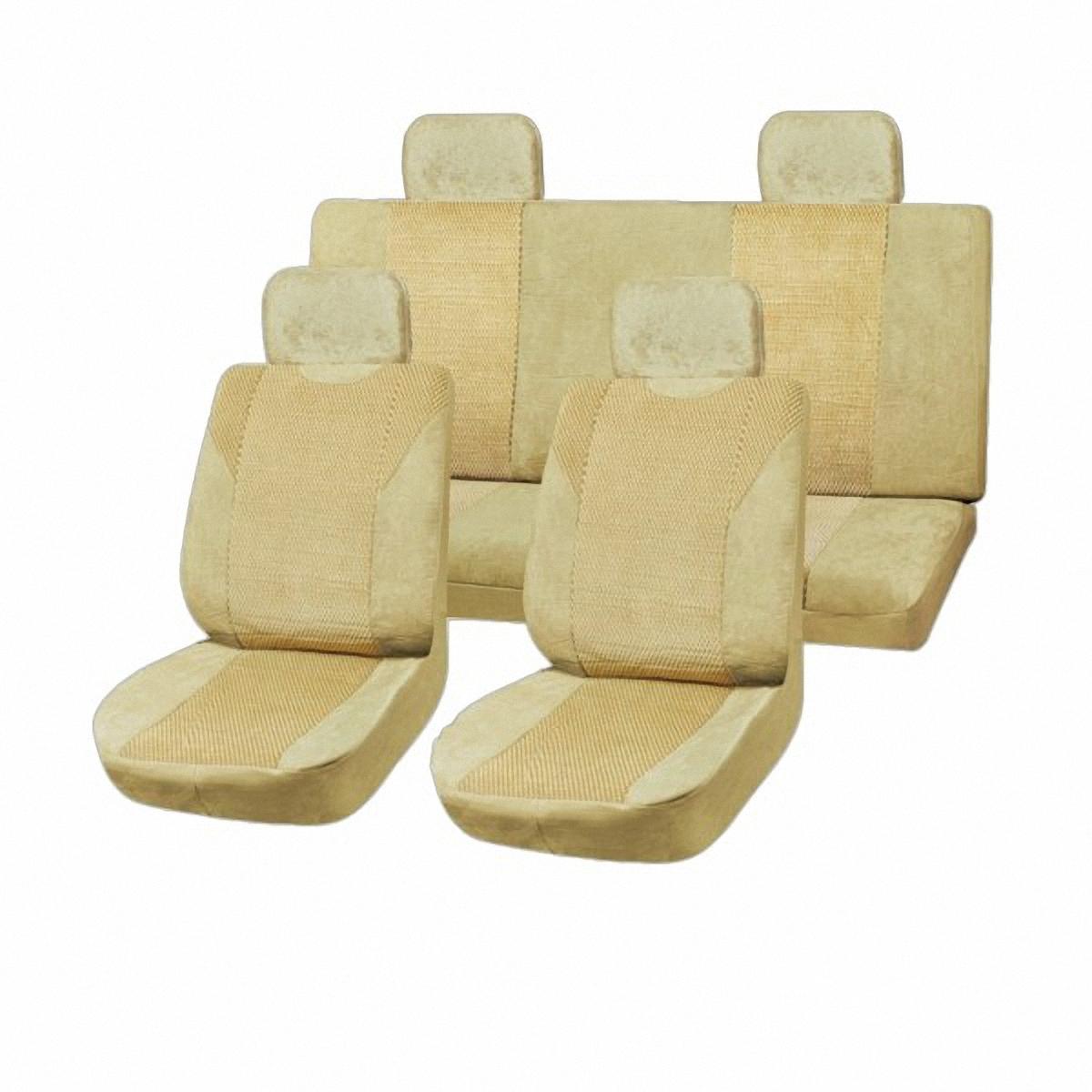 Чехлы автомобильные Skyway DRIVE, цвет: бежевый, 11 предметов. SW-111029 BE/S01301005SW-111029 BE/S01301005Универсальные чехлы автомобильные Skyway, изготовленные из прочного материала - велюр, прекрасно защитят ваш салон от износа и повреждений. Более плотный поролон позволяет чехлам полностью прилегать к сидению автомобиля и меньше растягиваться в процессе использования. Ткань чехлов на сиденья не вытягивается, не истирается, великолепно сохраняет форму, устойчива к световому и тепловому воздействию, а ровные, крепкие швы не разойдутся даже при сильном натяжении.В комплекте 11 чехлов.