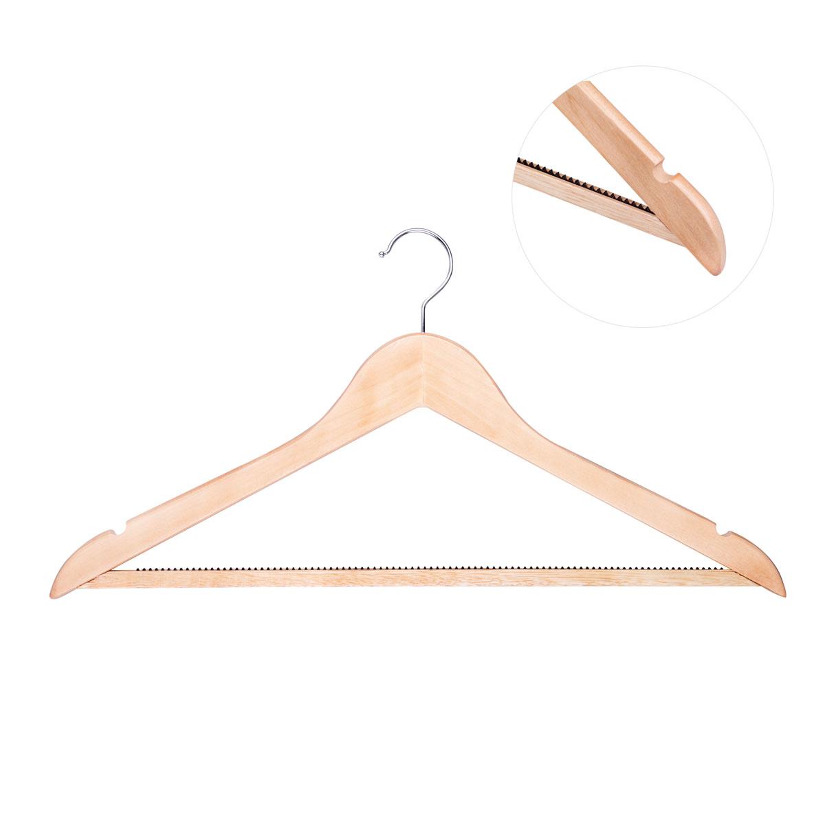 """Универсальная вешалка для одежды """"Miolla"""" выполнена из прочного дерева. Изделие оснащено перекладиной и двумя крючками. Пластиковые зубчики на перекладине предотвращают скольжение.  Вешалка - это незаменимая вещь для того, чтобы ваша одежда всегда оставалась в хорошем состоянии."""
