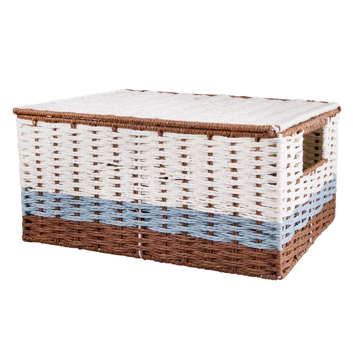 """Вместительная плетеная корзина для хранения """"Miolla"""" - отличное решение для хранения. Корзина имеет жесткую конструкцию, снабжена ручками и крышкой. Подходит для хранения бытовых вещей, аксессуаров для рукоделия и других вещей дома и на даче. Экономьте полезное пространство своего дома, уберите ненужные вещи в удобную корзину и используйте ее для хранения дорогих сердцу вещей, которые нужно сберечь в целости и сохранности."""
