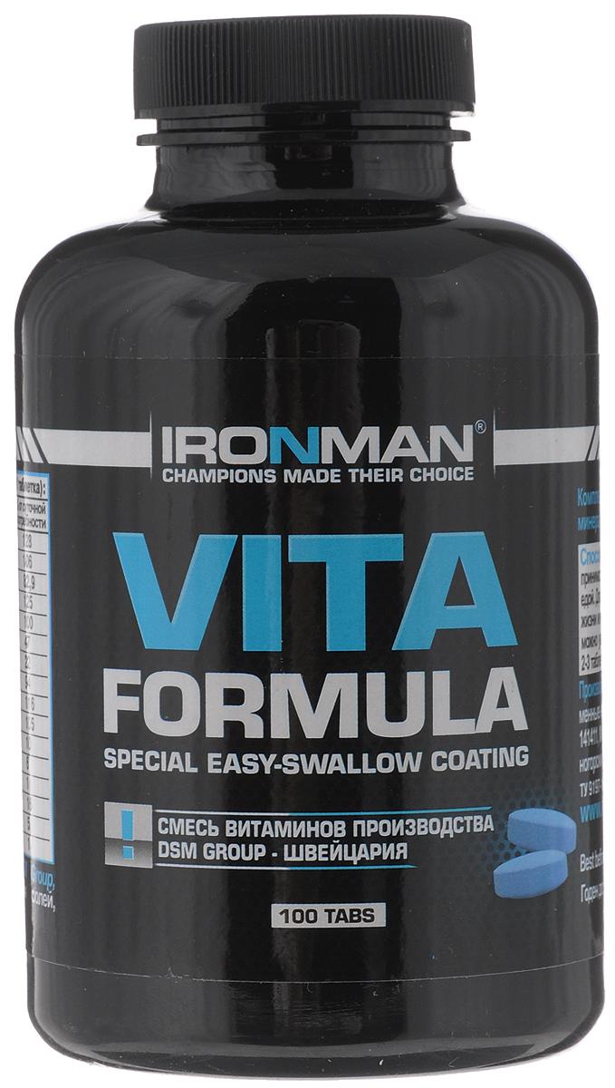 Витаминно-минеральный комплекс Ironman Vita Formula, 100 таблеток4607062750322Ironman Vita Formula - это высокоэффективныйкомплекс, включающий в себяполный набор витаминов и минералов, необходимыхорганизму, плюс ферменты, способствующие лучшемуусвоению питательных веществ. Ironman Vita Formula -это исключительно натуральная формула, содержащаяхелатированные минералы. Не содержит каких-либоискусственных красителей и добавок. Способ употребления: принимать по 1 таблеткеежедневно с едой. Для лиц, ведущих активный образжизни или интенсивно тренирующихся, можно увеличитьежедневную дозу до 2-3 таблеток.Состав: смесь витаминов DSM Group (Швейцария),комплекс минеральных солей, пленочное покрытиеColorcon (Англия). Содержание питательных веществ в порции (1 таблетка):витамин В1 (тиамин) 11,9 мг, витамин В2 (рибофлавин)1,8 мг, витамин В6 (пиридоксин) 2,5 мг, витамин В12(цианокобаламин) 1,1 мкг, железо 0,8 мг, цинк 2,4 мг,витамин B5 (пантотеновая кислота) 9,9 мг, витамин B9(фолиевая кислота) 0,38 мг, магний 23,3 мг, витамин B3(ниацин) 16,6мг, калий 5,1 мг, магний 23,3 мг, хром1,24 мкг, кальций 94,9 мг, витамин Е 14 мг, витамин С 56,3мг. Товар сертифицирован.Уважаемые клиенты! Обращаем ваше внимание на возможные изменения в дизайне упаковки. Качественные характеристики товара остаются неизменными. Поставка осуществляется в зависимости от наличия на складе.Как повысить эффективность тренировок с помощью спортивного питания? Статья OZON Гид