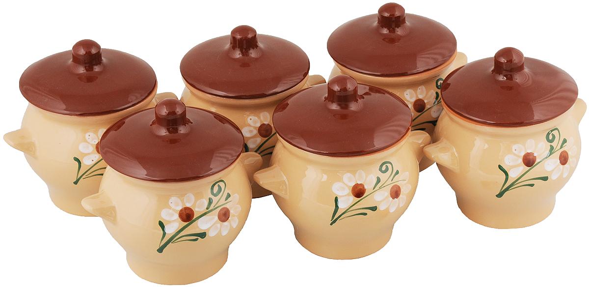 Набор горшочков для запекания Борисовская керамика Стандарт, с крышками, 600 мл, 6 шт
