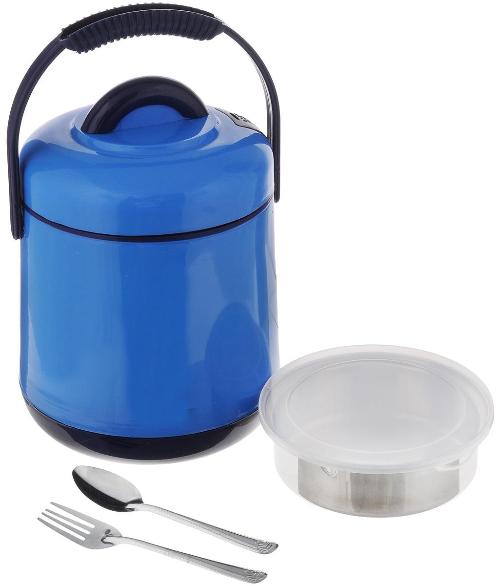 Термос пищевой Mayer & Boch, цвет: голубой, синий , 1,9 л905_голубой, синийПищевой термос Mayer & Boch предназначен для хранения и переноски горячих и холодныхпищевых продуктов. Корпус выполнен из высококачественного пластика. Внутренняя колбаизготовлена из нержавеющей стали. Наполнение из жесткого пенопласта сохраняет температуруи свежесть пищи на протяжении 4-5 часов. Пища сохраняет аромат, вкус и питательные вещества.Внутрь вставляется специальная металлическая чаша спрозрачной пластиковой крышкой. В комплекте также предусмотрены ложка и вилка, выполненные из нержавеющей стали, которыехранятся в крышке. Для удобства переноски на изделии предусмотрена ручка. Такой термос - идеальный вариант для домашнего использования, для отдыха на природе илипоездки. Элегантный и стильный дизайн подходит для любого случая. Диаметр термоса (по верхнему краю): 15 см. Высота термоса (без учета крышки): 17 см.Диаметр контейнера: 13,5 см. Высота контейнера: 4 см. Длина ложки/вилки: 14 см.