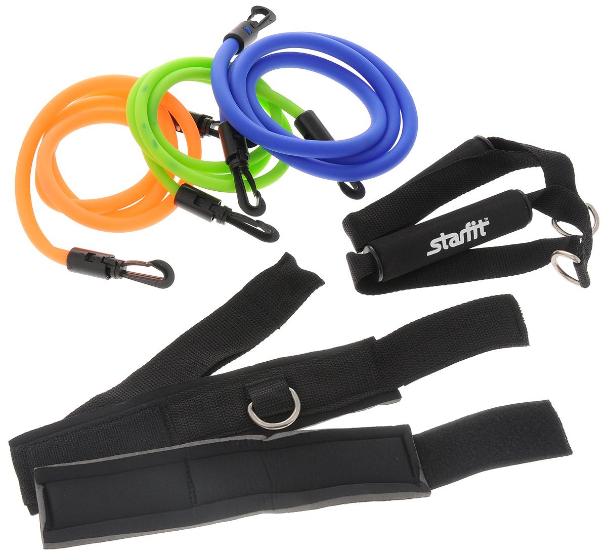 Набор эспандеров Starfit ES-606, с ручками, 8 предметов эспандер ленточный starfit es 201 цвет серый 1200 х 150 х 0 55 мм