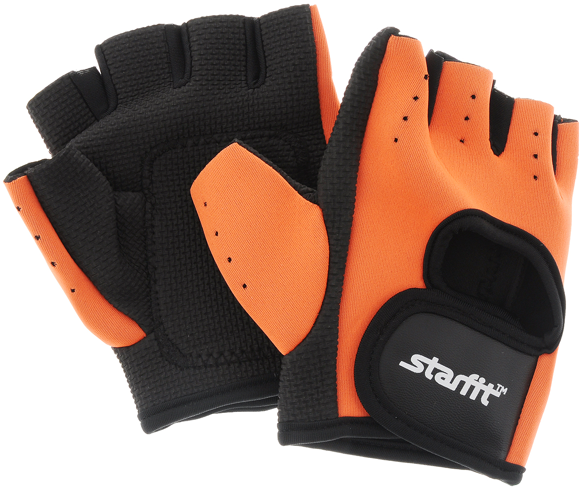 Перчатки для фитнеса Starfit SU-107, цвет: оранжевый, черный. Размер LУТ-00008326Перчатки для фитнеса Star Fit SU-107 необходимы для безопасной тренировки со снарядами (грифы, гантели), во время подтягиваний и отжиманий. Они минимизируют риск мозолей и ссадин на ладонях. Перчатки выполнены из нейлона, искусственной кожи, полиэстера и эластана. В рабочей части имеется вставка из тонкого поролона, обеспечивающего комфорт при тренировках.Размер перчатки (без учета большого пальца): 14 х 9 см.