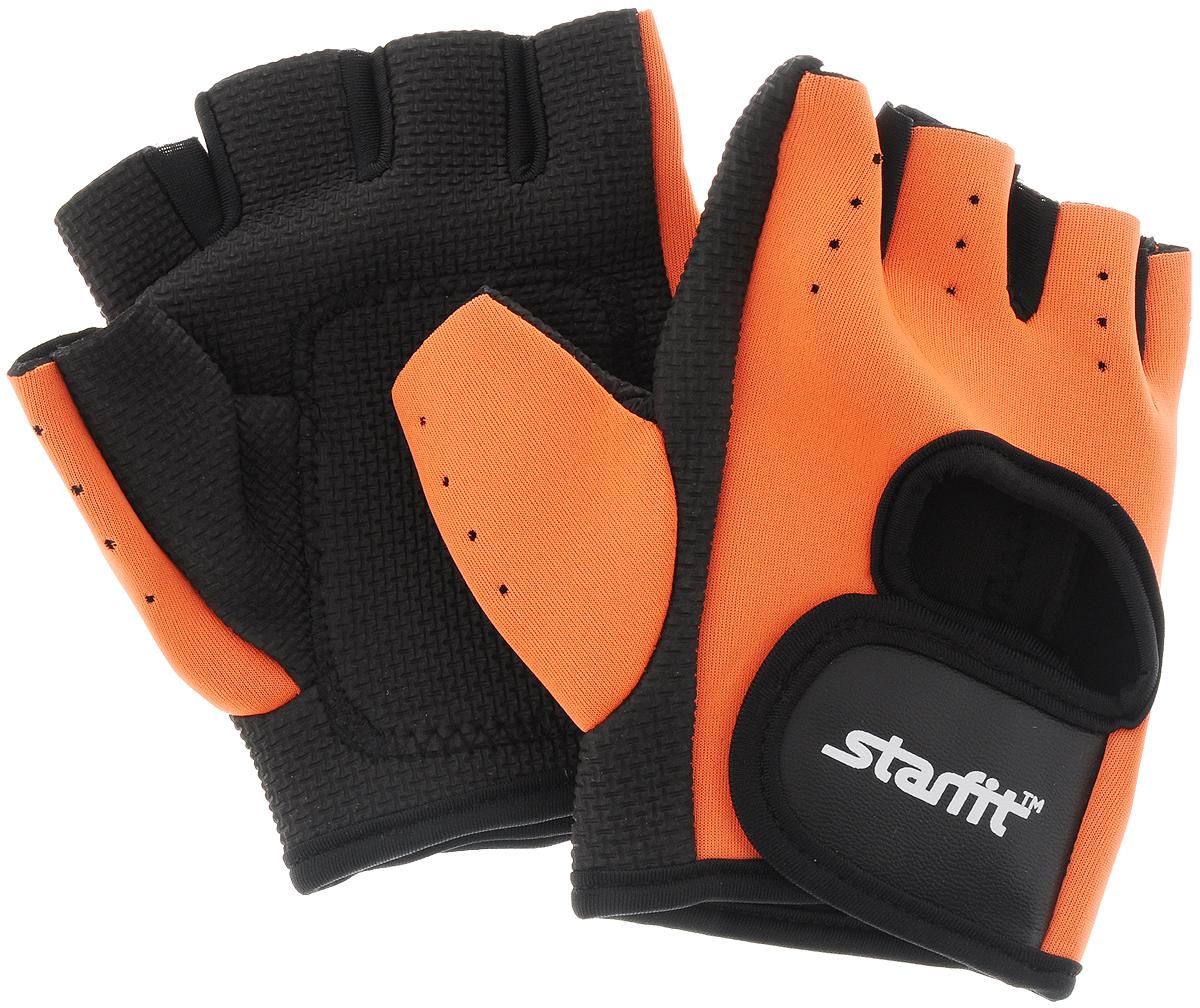 Перчатки для фитнеса Starfit SU-107, цвет: оранжевый, черный. Размер XLУТ-00008326Перчатки для фитнеса Star Fit SU-107 необходимы для безопасной тренировки со снарядами (грифы, гантели), во время подтягиваний и отжиманий. Они минимизируют риск мозолей и ссадин на ладонях. Перчатки выполнены из нейлона, искусственной кожи, полиэстера и эластана. В рабочей части имеется вставка из тонкого поролона, обеспечивающего комфорт при тренировках.Размер перчатки (без учета большого пальца): 14 х 9 см.