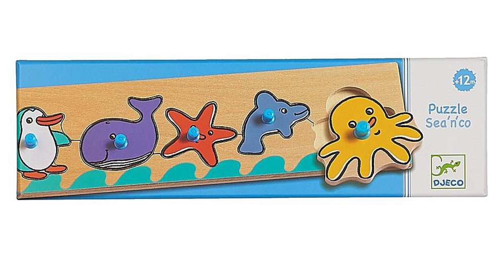 Djeco Пазл для малышей Море флексика пазл для малышей геометрия цвет основы красный