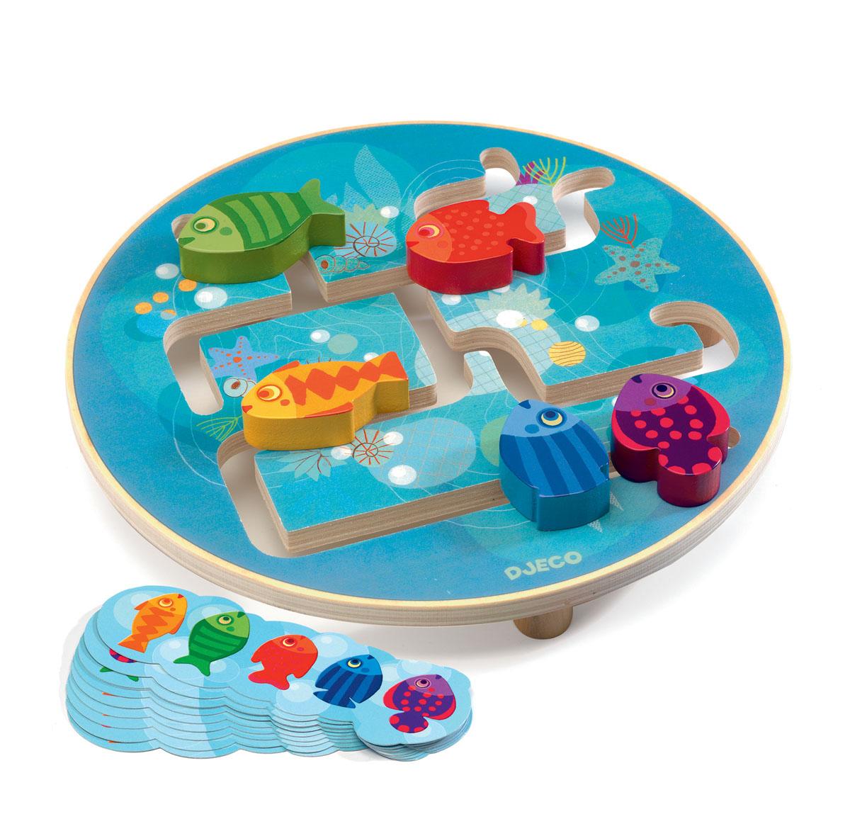 Djeco Развивающая игрушка Головоломка Рыбки развивающая игрушка djeco зверюшки попрыгунчики пастель 06105