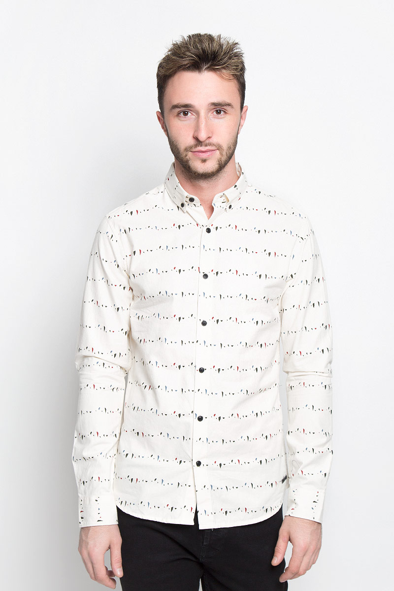 Рубашка мужская Only & Sons, цвет: молочный. 22004270. Размер L (48)