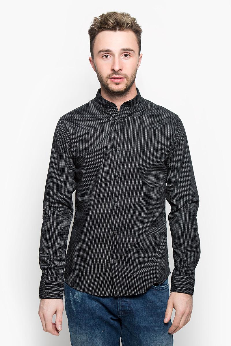 Рубашка мужская Only & Sons, цвет: черный. 22004843. Размер M (46)
