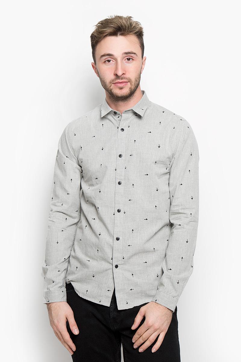 Купить Рубашка мужская Only & Sons, цвет: светло-серый. 22004263. Размер L (48)