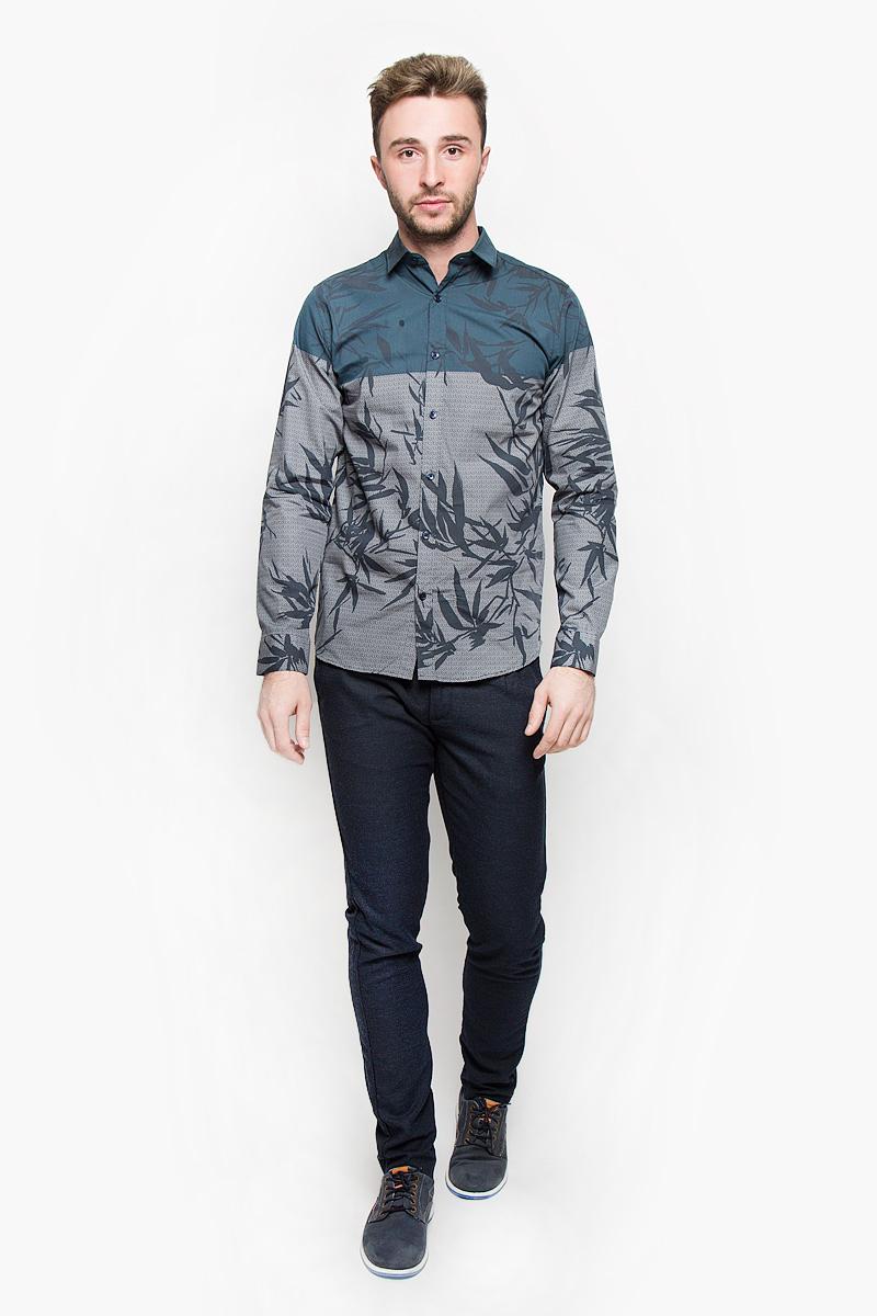 Рубашка мужская Selected Homme, цвет: серый, темно-синий. 16053589. Размер XL (50) водолазка мужская selected homme цвет серый 16053105 размер xl 50
