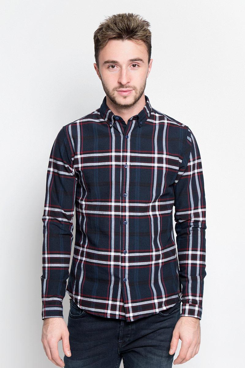 Рубашка мужская Only & Sons, цвет: темно-синий, бордовый, белый. 22004583. Размер M (46) рубашка мужская only & sons цвет белый 22008733 размер m 48