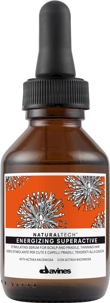 Davines Суперактивная сыворотка против выпадения волос New Natural Tech Energizing Superactive, 100 мл71182Стимулирующая Активная Сыворотка -cредство от выпадения волос, возникающего в связи с гормональными сбоями. В сыворотке содержится экстракт воронца кистевидного (actae racemosa), который регулирует работу фермента альфа-редуктаза и предотвращает выпадение волос. Помимо этого, регулируется активность сальных желез.Формула содержит фитоактив кофеина, который вместе с белками сиртуинами и бета-глюканом стимулирует метаболизм клеток кожи головы, способствуя насыщению тканей кислородом. Бета-глюкан – это полисахарид, способствующий укреплению иммунитета. Сиртуин, белок долголетия, способствует омолаживанию кожи головы, укрепляет и тонизирует ее. Питательная сыворотка содержит также эфирные масла имбиря, корицы и черного перца, которые дают волосам жизненную силу. В результате ваши волосы становятся крепкими и здоровыми, а кожа головы более эластичной, также уменьшается ее сальность. pH 5,4