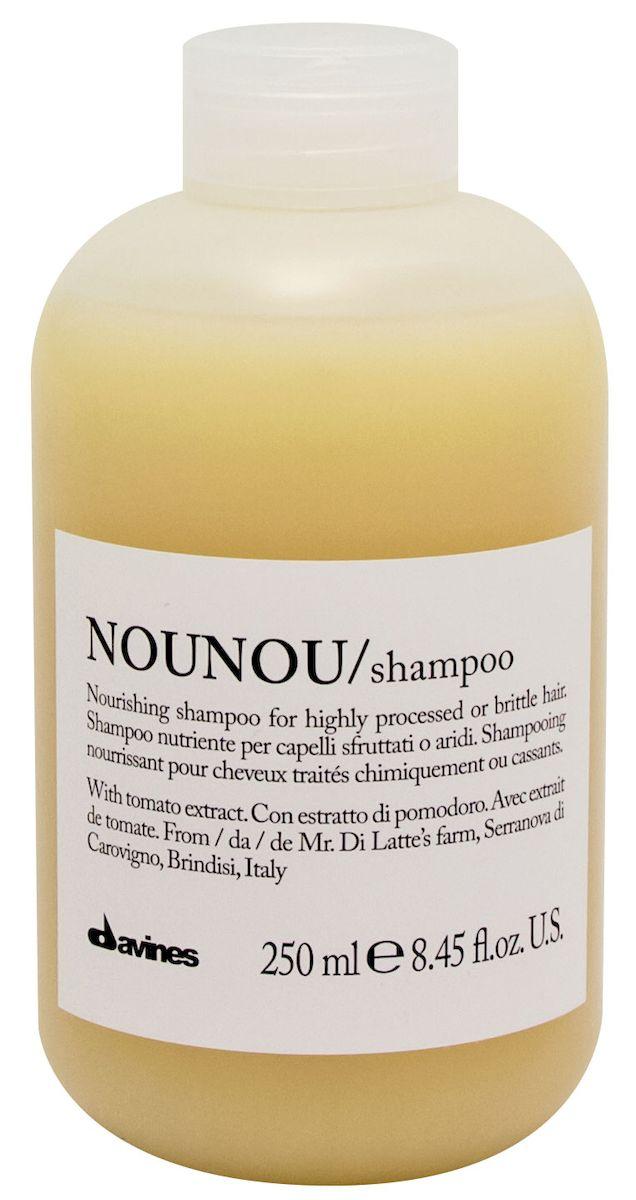 Davines Питательный шампунь для уплотнения волос Essential Haircare New NouNou Shampoo, 250 мл75000Основой этого уплотняющего шампуня служат особые уникальные свойства помидорок Фьяскетто. Экстракт, полученный из этой ягоды обладает удивительно высокими питательными свойствами. Шампунь оздоравливает волосы, насыщает их протеинами и углеводами, столь необходимыми для здорового роста. Витамин С в составе препятствует окислению волос, работая как антиоксидант. Сухие и поврежденные кудри обретают утерянные сияние и силу, наполняются здоровьем. Окрашенные локоны насыщаются цветом и силой.