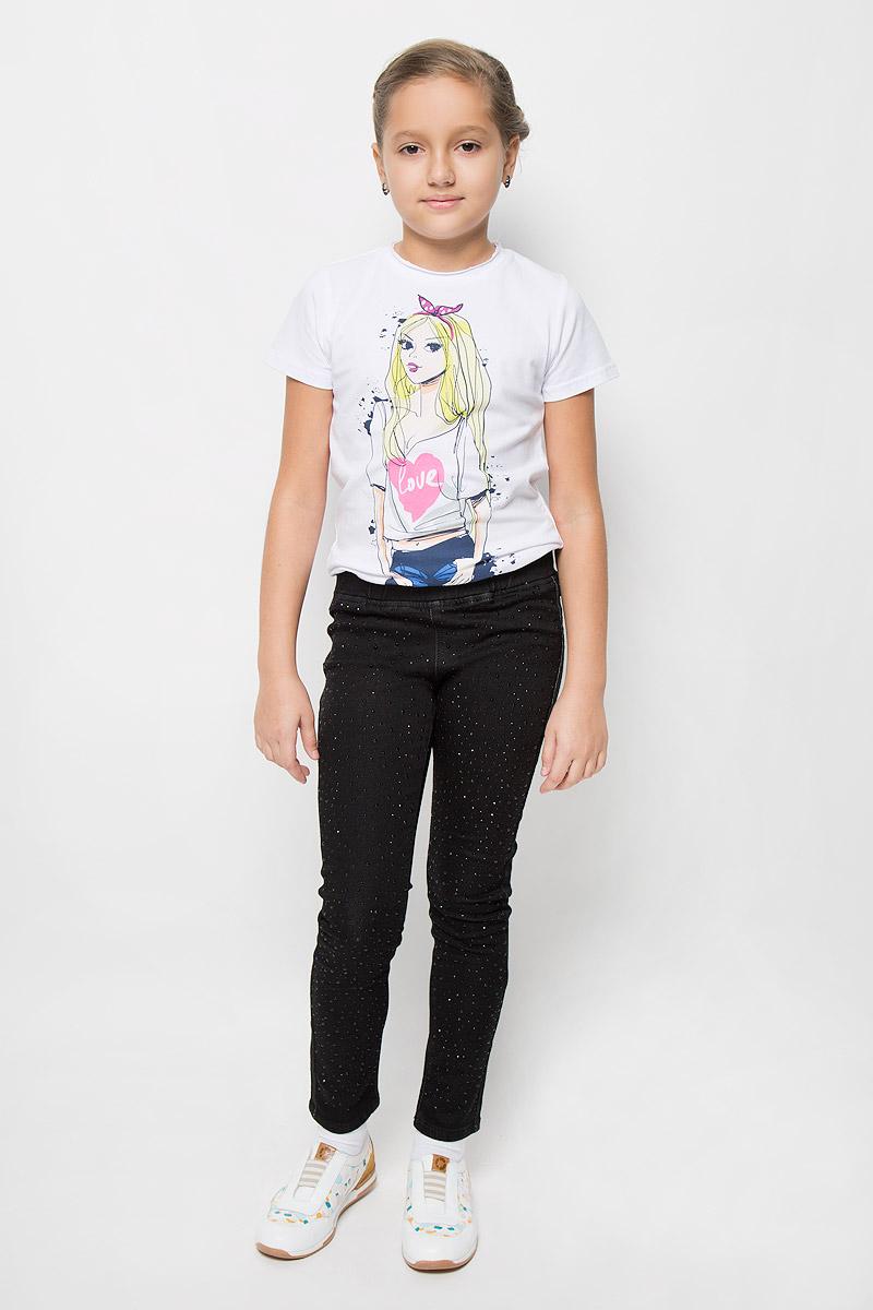 Брюки для девочки Scool, цвет: графитовый. 364122. Размер 140, 10 лет364122Брюки для девочки Scool станут стильным дополнением к образу юной модницы. Изделие выполнено из плотного эластичного материала, не стесняет движений, обеспечивая комфорт при носке.Брюки-слим имеют в поясе широкую эластичную резинку. Сзади расположены два накладных кармана. Модельдекорирована стразами разных размеров. Обладательница таких брюк всегда будет в центре внимания!