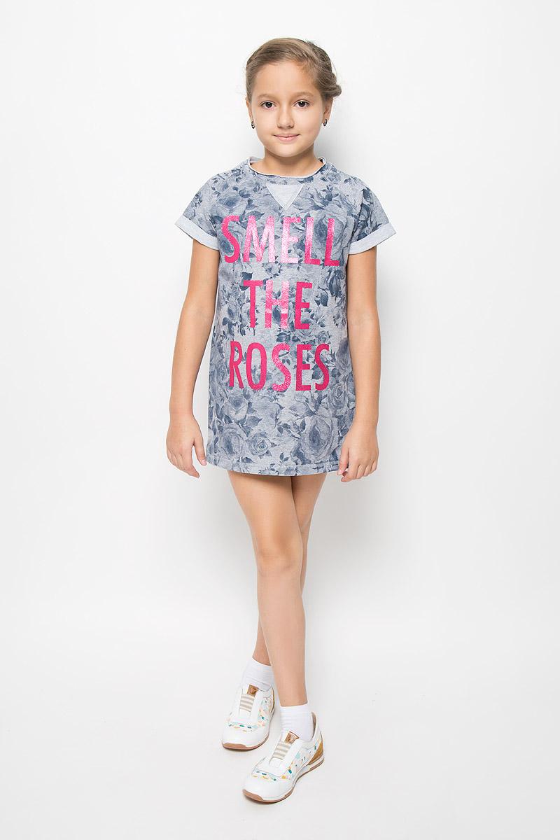 Платье для девочки Scool, цвет: серый меланж, темно-синий. 364169. Размер 164, 14 лет364169Стильное укороченное платье для девочки Scool выполнено из эластичного хлопка и полиэстера. Материал изделия мягкий и тактильно приятный, не стесняет движений и позволяет коже дышать. Изнаночная сторона платья с небольшими петельками. Платье с круглым вырезом горловины и короткими рукавами-реглан оформлено цветочным принтом. Вырез горловины дополнен двойной окантовкой с необработанным краем. Рукава украшены отворотами. Модель декорирована надписью с блестящим напылением.Дизайн и расцветка делают это платье оригинальным и модным предметом детской одежды. Маленькая принцесса в нем всегда будет в центре внимания!
