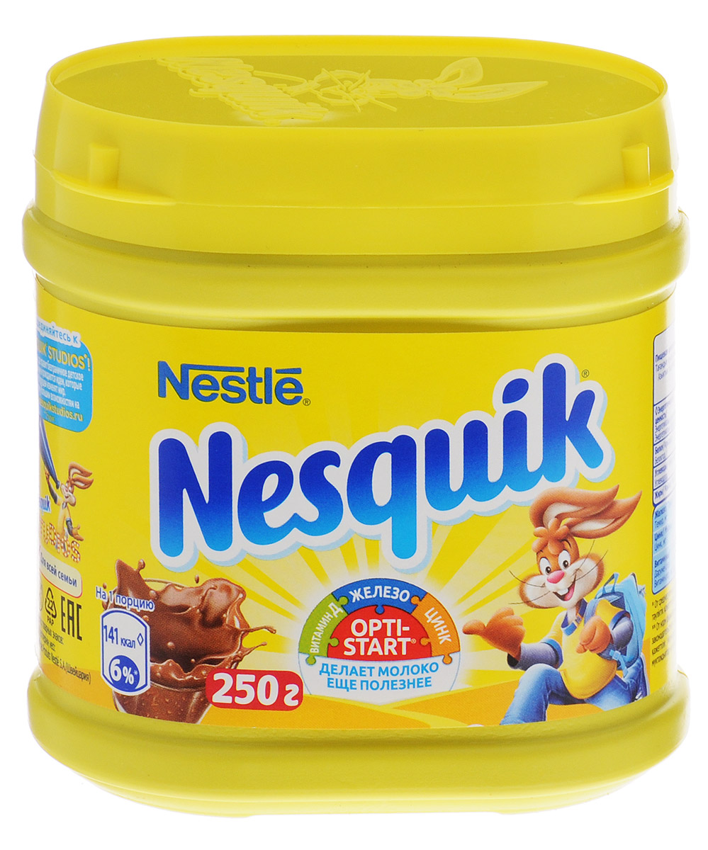 Nesquik Opti-Start какао-напиток растворимый, 250 г12287733Какао-напиток Nesquik содержит Opti-Start. Это особый комплекс витаминов и минеральных веществ, который дополняет пользу молока, обеспечивает детей и взрослых важными витаминами, макро- и микроэлементами, необходимыми для нормальной жизнедеятельности организма, а также для роста и развития детей. Комплекс содержит железо, цинк, витамины D, C и B1.Кружка какао-напитка Nesquik за завтраком поможет проснуться и поднять тонус, а благодаря молоку и комплексу Opti-Start - обеспечит поступление минеральных веществ и витаминов, для нормальной жизнедеятельности организма, а также для роста и развития детей. Какао-напиток Nesquik Opti-Start – это отличное начало дня!Уважаемые клиенты! Обращаем ваше внимание на то, что упаковка может иметь несколько видов дизайна. Поставка осуществляется в зависимости от наличия на складе.