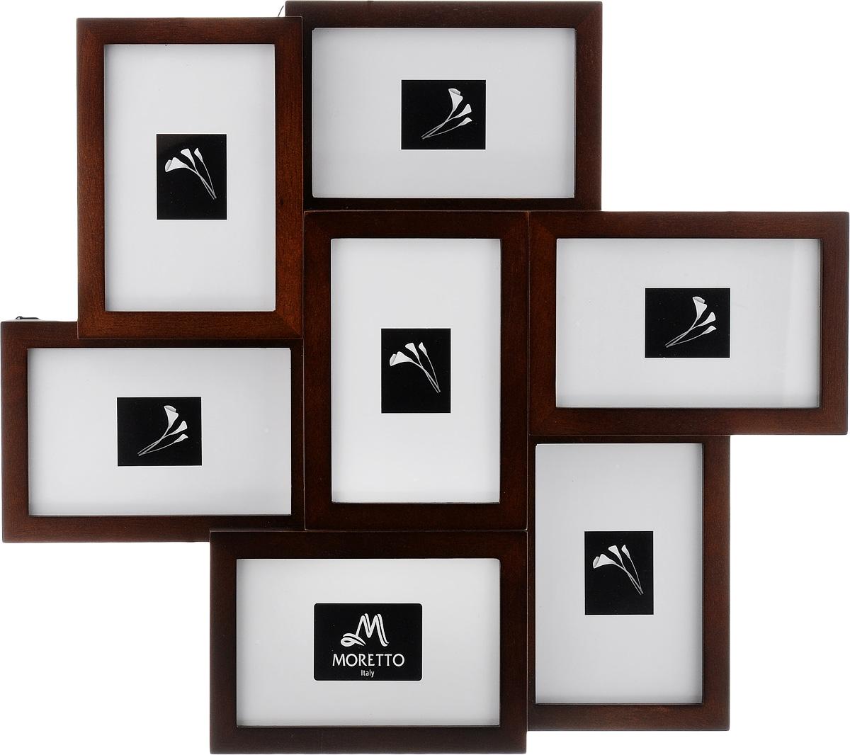 Фоторамка Moretto, на 7 фото 10 х 15 см238007Фоторамка Moretto - прекрасный способ красиво оформить ваши фотографии. Фоторамка выполнена из дерева и защищена стеклом, предназначена для семи фотографий. Фоторамка-коллаж представляет собой семь фоторамок для фото одного размера оригинально соединенных между собой. Такая фоторамка поможет сохранить в памяти самые яркие моменты вашей жизни, а стильный дизайн сделает ее прекрасным дополнением интерьера комнаты.Размеры фоторамок:- 7 фоторамок 12 х 17 см для фото 10 х 15 см.Общий размер фоторамки (по самой широкой части): 46 х 41 см
