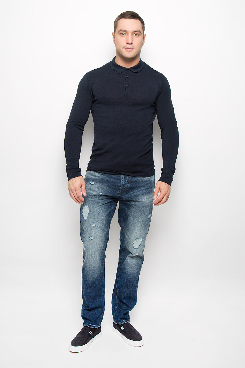 Поло с длинным рукавом Selected Homme Identity, цвет: темно-синий. 16052120. Размер XL (50) водолазка мужская selected homme identity цвет молочный 16052854 размер xl 50